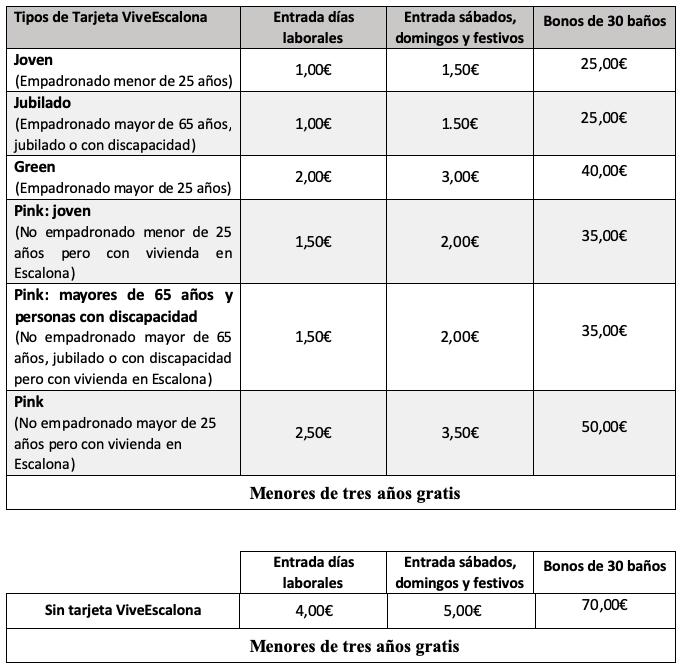Tarifa Piscina Municipal - Tarjeta Ciudadano Escalonero - Ayuntamiento de Escalona